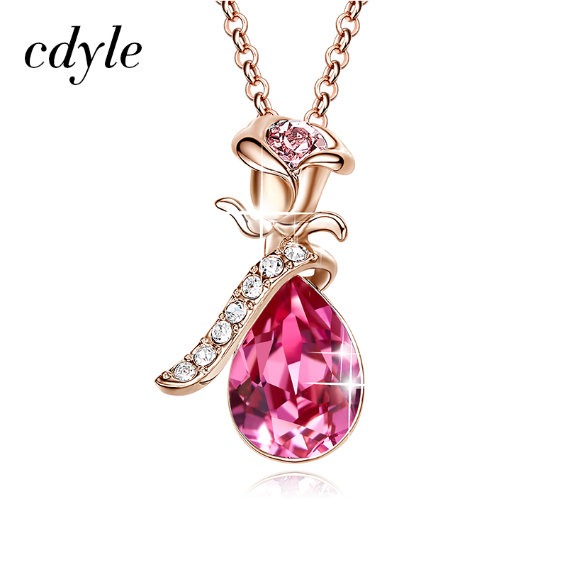 5a7d597ee91d4 Cdyle Rose Gold Necklaces Crystals from Swarovski Vintage Women Charm  Pendant Zircon Pink Blue Sexy Flower Set Elegant Statement-in Pendant  Necklaces from ...