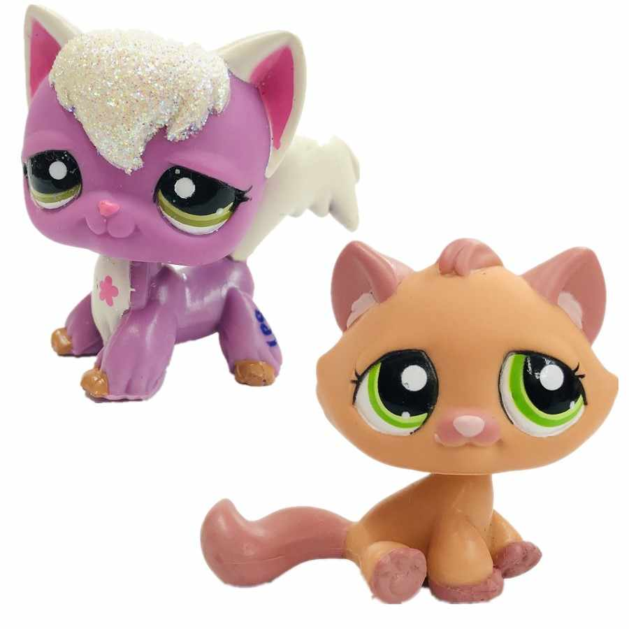 new rare  Purple cat  Long tail cute orange cat doll toy cute cat with Lovely Pet shop animal action figure littlest doll toys
