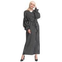495ab174abbf1 Muslim Women Elegant Modest Maxi Dresses Abaya Turkey Stripe Long Sleeve  Robe Kaftan Dress Clothes Z0415