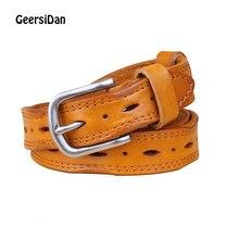 GEERSIDAN New Belts Women Thin Genuine Leather Belt women 8 Colour fashion designer  For Ceinture Femme belt female