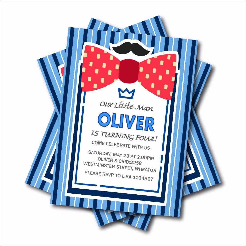 20 pcs/lot Little man bow tie birthday invitations Mustache Birthday ...
