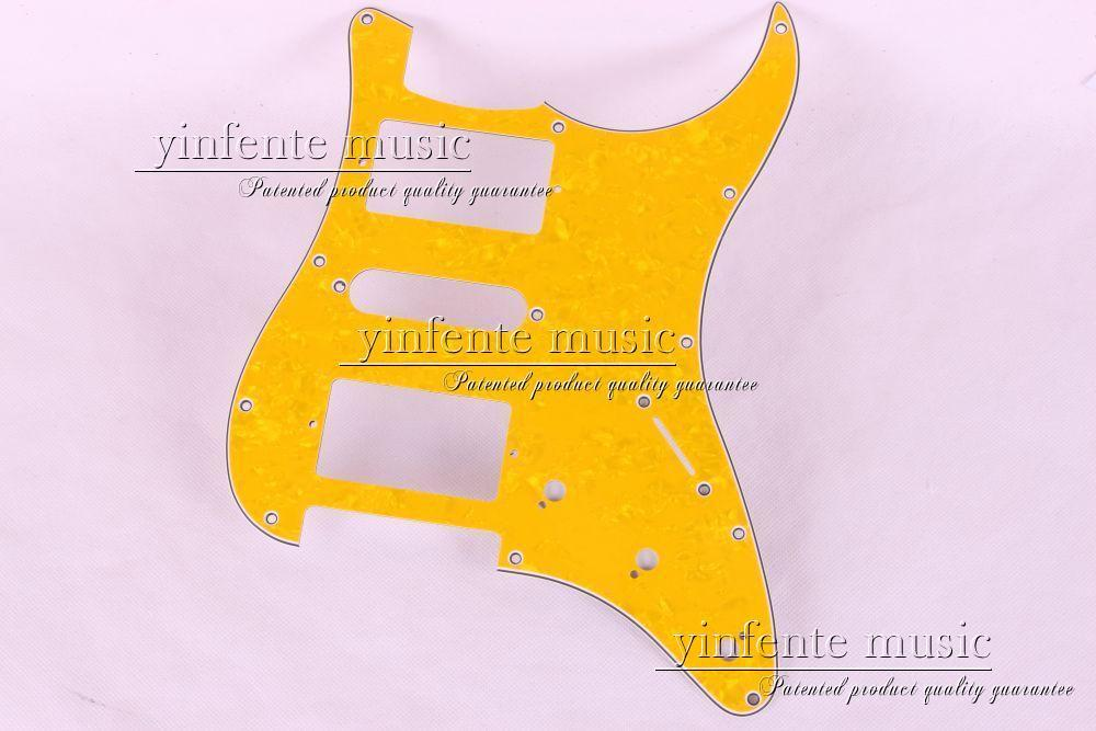New 1pcs Electric Guitar pickguard Strat/ST Yellow style 3-ply HSH #A66 4pcs new mirror pickguard 11 hole sss for electric strat style guitar replacement