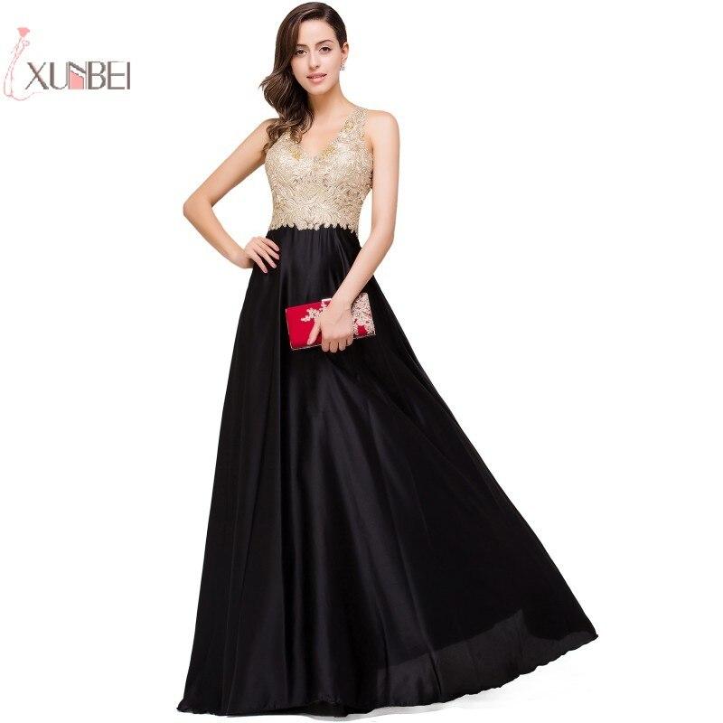 2019 Luxury Elegant Black Burgundy Satin Long   Prom     Dresses   Gold Applique Beading   Prom   Gown Gala   Dress   Vestido de festa