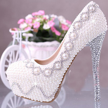 Ivory Wedding Bridal Dress Shoes Custom-made Super High heel 14cm Fashion Lady Shoes Anniversary Party Dress Shoes