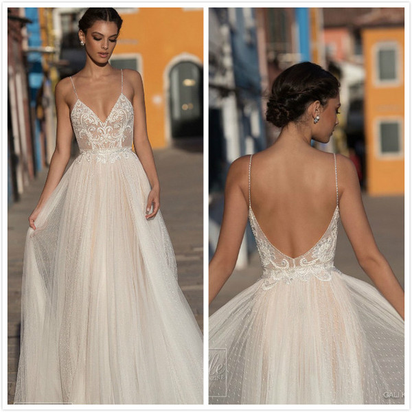 Wedding Dresses 2019 Sexy Modest Illusion Backless Dot