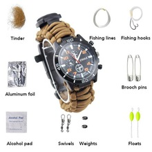 Multi-functional outdoor hiking camping survival emergency suits. Sports mens watch earthquake relief self-help tool.