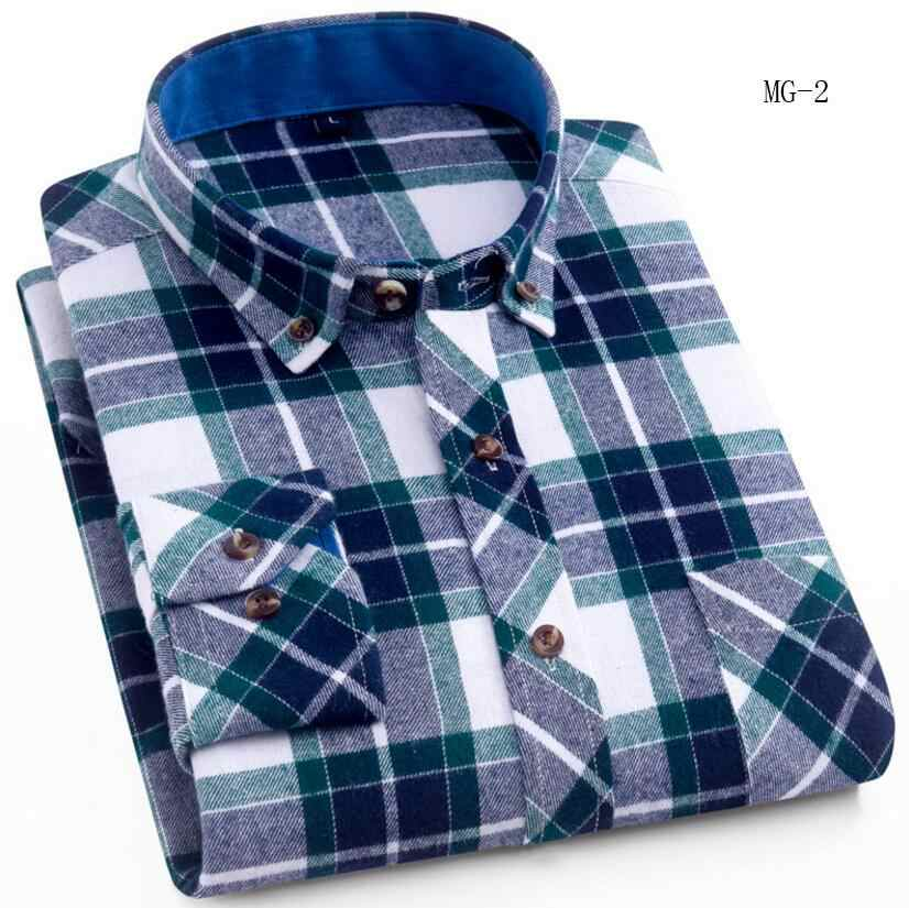 Mannen Plaid Flanel Shirt Borst Pocket Smart Casual Classic Contrast Standaard-fit Lange Mouw Shirts