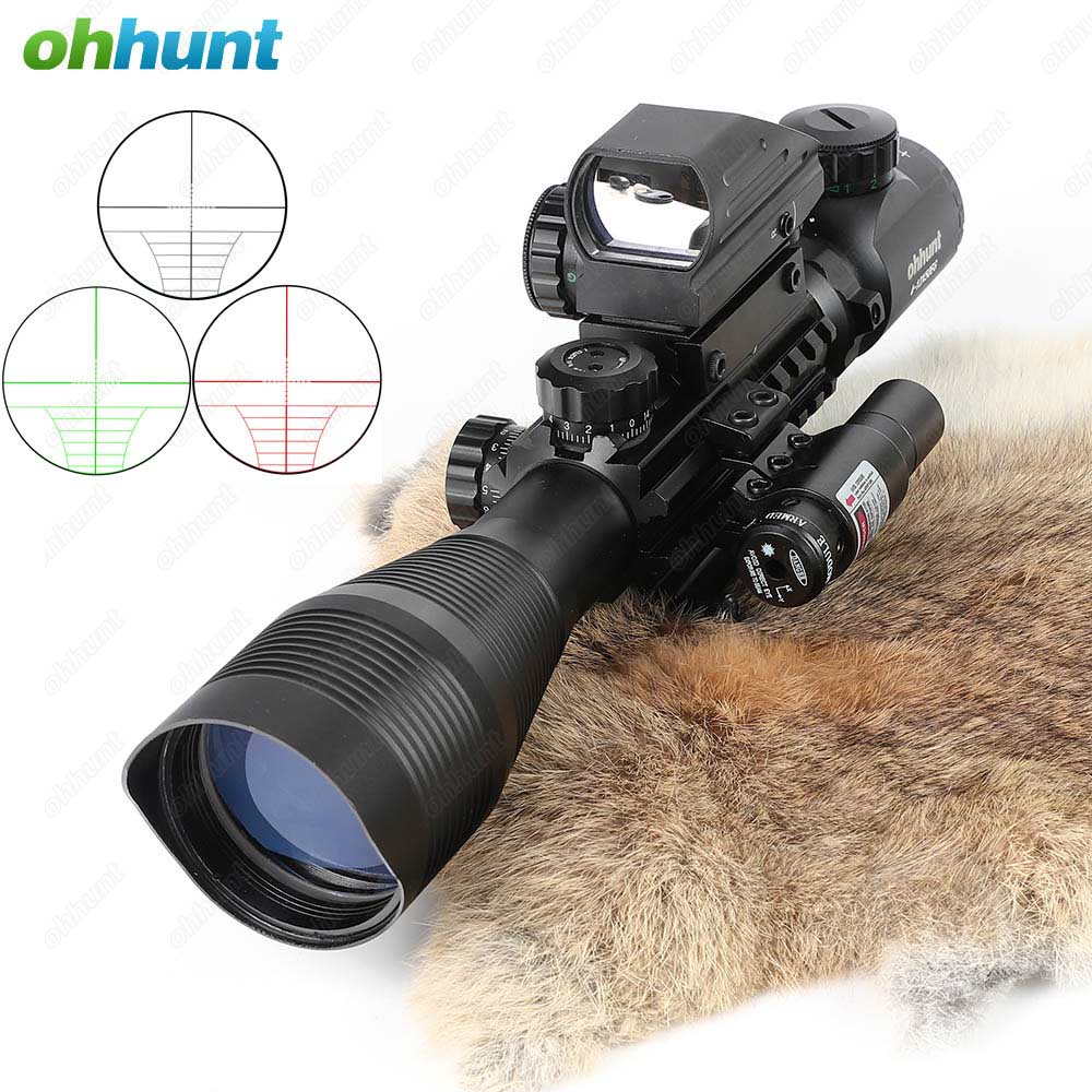 Ohhunt 4-12X50 Hunting Combo Riflescope Optics Sights Red Green Laser and Red Dot Sight with Picatinny Rail Mount Rifle Scope tactical optics riflescope 4x42 red green dot sight scope fit picatinny rail mount 20mm hunting rifle scopes