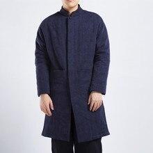 Men Winter Jacquard Linen Cotton Jacket Chinese Style Plus Size Overcoat Male Casual Warm Long Parkas Coat