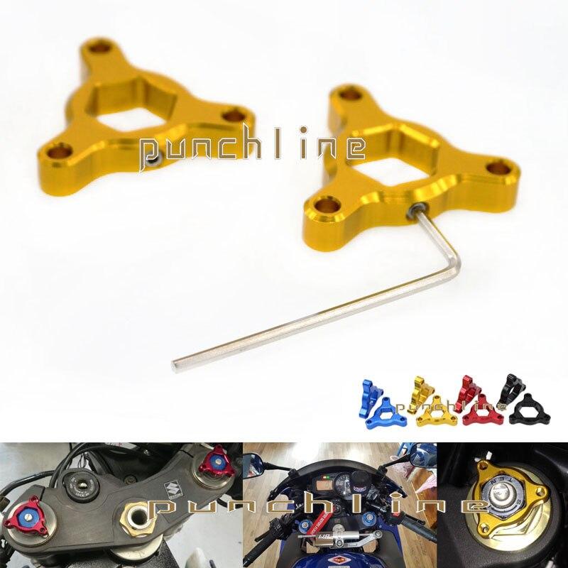 For KAWASAKI ZX9R ZX-9R ZX12R ZX-12R ZX7R/RR Motorcycle Accessories 17mm CNC Aluminum Suspension Fork Preload Adjusters Gold