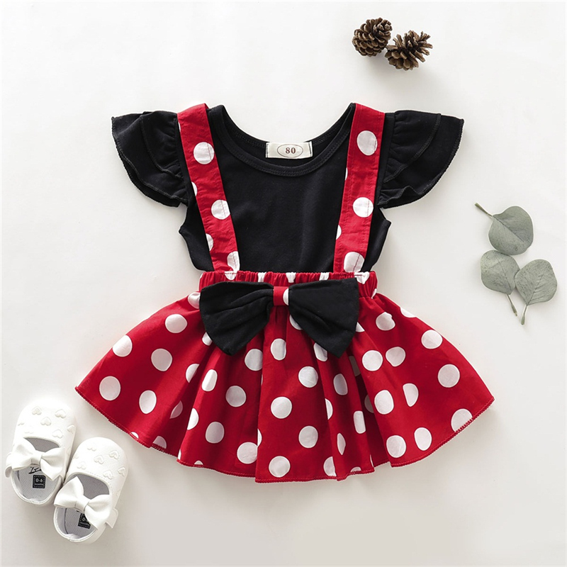 2019 Brand New Toddler Baby Girls Clothes Set Solid T-Shirt Polka Dot Suspender Skirt Outfit Summer Clothes For Baby Girl