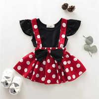 Conjunto de ropa para niñas pequeñas, camiseta lisa, falda con tirantes de lunares, ropa de verano, novedad de 2019