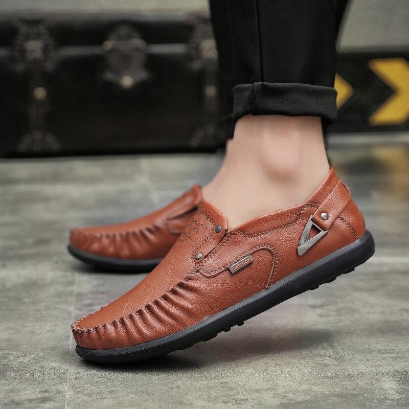 Métal Hommes Décoration Mâle Mode rouge Aa52007 Sur Chaussures Confortable Respirant jaune Portable Glissement Casual Noir En Cuir La Oxford wr74qSwPH