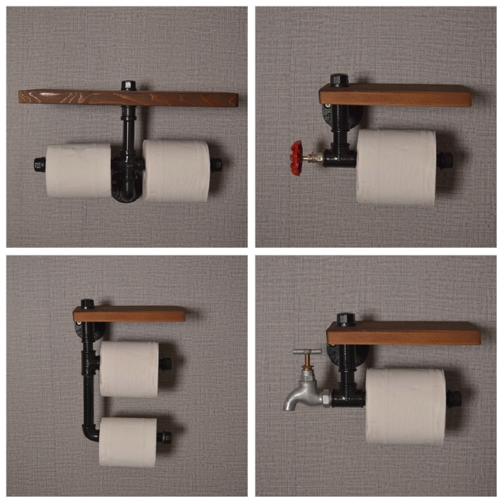 Creative Water Pipe Kitchen Tissue Holder Bathroom Paper Mobile Phone Holder Retro Metal Toilet Towel Rack Home Paper Holder