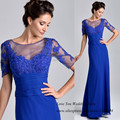 Royal Blue Long Mother of the Groom Dresses with Sleeves 2015 Lace Bride Mother Dress for Weddings Vestido Festa Madrinha