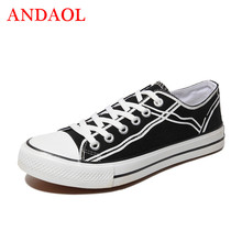 ANDAOL Mens Casual Shoes New Arrivals Solid Breathable Light Tenis Feminino Sneakers Luxury Lace-Up Campus Canvas Trainers