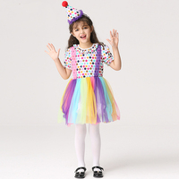 Rainbow Cosplay Girl Halloween Dress With Hat Children Costume Clown Dot Dresses Kids Girl Party Photography