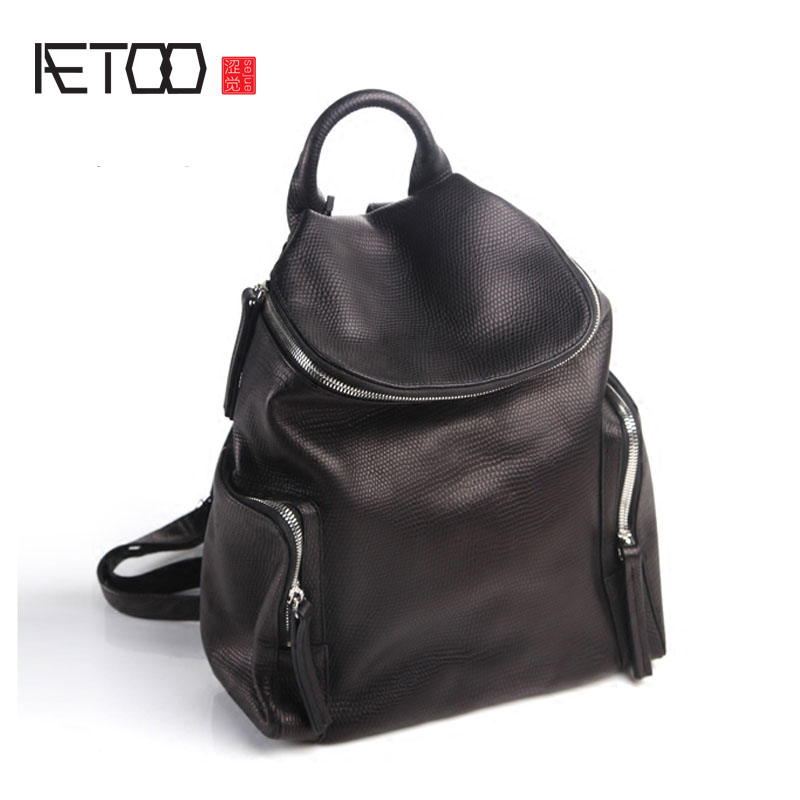 AETOO Pure leather Europe and the United States fashion original retro personality shoulder leather Korean board street tide sec europe and the united states classic sheepskin checkered chain tide package leather handbags fashion casual shoulder messenger b