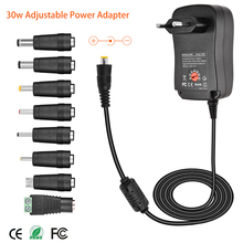 30 Вт универсальный адаптер питания 3 в 4,5 в 5 в 6 в 7,5 в 9 в 12 В AC DC зарядное устройство преобразователь питания + 5 В А USB порт с 8 шт. разъемов черный