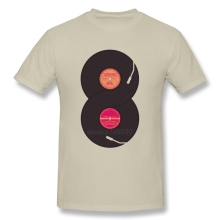 Double vinyl record spinning men's t-shirt