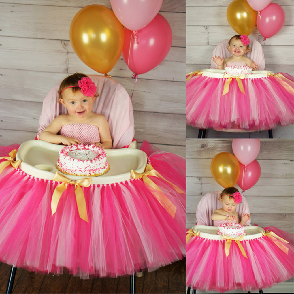 93*35cm Tutu Tulle Table Skirts Baby Shower Decoration For High Chair Home  Textiles Party