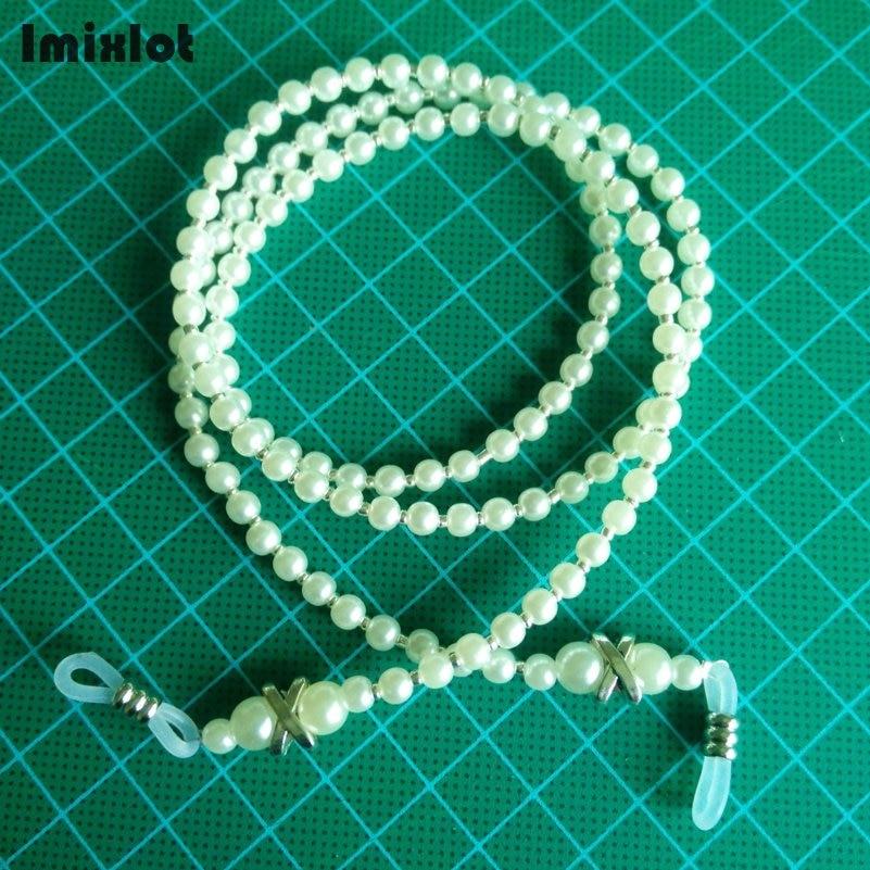 Fashion Cross Charm White Pearl Beads Eyeglass Chains Eyewears Sunglasses Reading Glasses Chain Cord Holder Neck Strap Rope