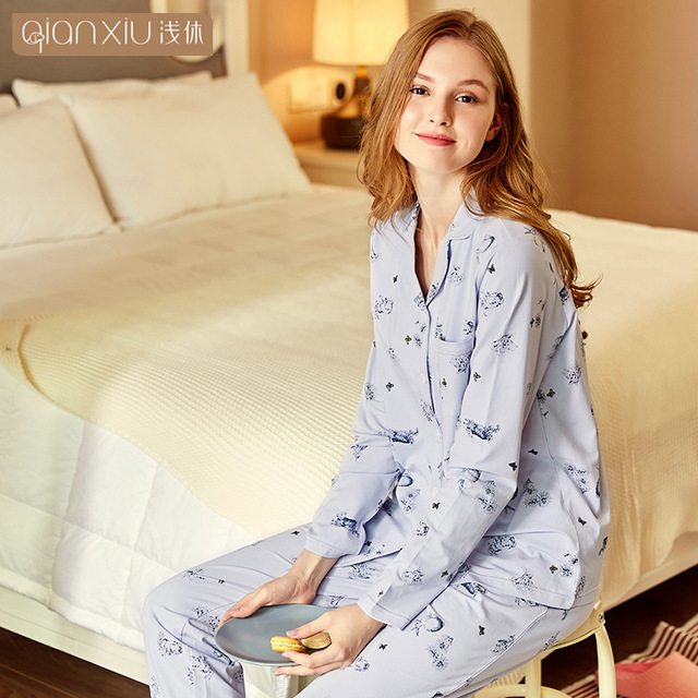 Autumn Women printing pajamas suit long sleeve Sleepwear cotton Pajamas Set  Flower Print Woman Pajamas Pants comfort Nightwear 7420065f8