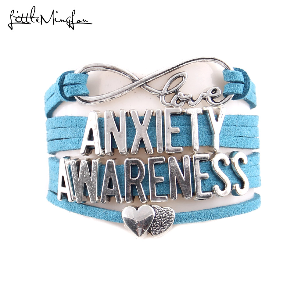 Little Minglou Not all wounds are visible anxiety awareness bracelet butterfly charm men bracelets bangles for