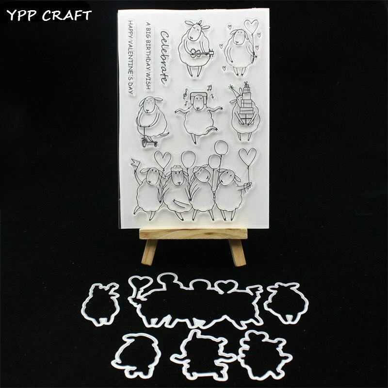YPP ARTISANAT Mignon Moutons Timbre Et la Coupe des Métaux Meurt Pochoirs pour le BRICOLAGE Scrapbooking/photo album Décoratif Gaufrage Du Papier de BRICOLAGE cartes