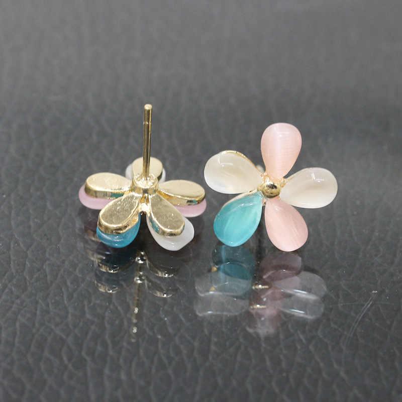 Cherry Blossoms Stud Hoa Tai Vàng Màu Sắc Đầy Màu Sắc Mắt Mèo Màu Trắng Đá Hoa Earring Phụ Nữ Ear Trang Sức Kim Cương Giả Phụ Kiện