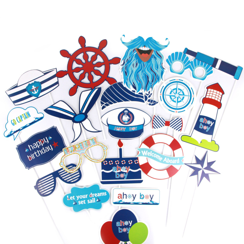 20pcs set Nautical Theme Happy Birthday Party Favors Photo Booth Props Boys First Birthday Party Decorations kids Baby Shower in Cake Decorating Supplies from Home Garden