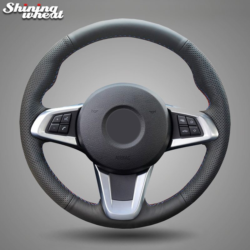 Shining wheat Black Genuine Leather Car Steering Wheel Cover for BMW Z4 2009- 2014 E83
