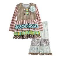 Estilo de la moda Flor Túnica Polka Dots Ruffle Toddler Girls Vestidos de Impresión Legging Niños Que Arropan Boutique de Rehacer F134