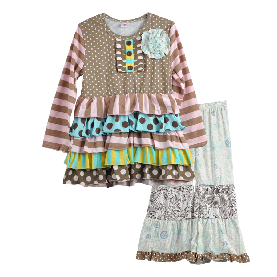 Fashion Style Flower Tunic Polka Dots Ruffle Toddler Girls Remake Dresses Print Legging Kids Boutique Clothing Sets F134 кружка luminarc water color 320 мл