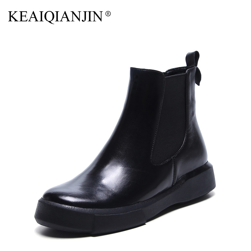 KEAIQIANJIN Woman Platform Chelsea Boots Black Autumn Winter Ankle Boots Fashion Flat With Genuine Leather Punk Motorcycle Boots keaiqianjin woman pointed toe ankle boots black autumn winter genuine leather shoes fashion metal decoration chelsea boots 2017