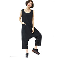 Fashion Oversized Casual Linen&Cotton Low Drop Crotch Harem Loose Jumpsuits Summer Overalls Trousers European Streetwear Rompers