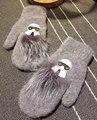 Темно-Серый Короткий Кролик 'ы Волосы двухэтажные Волосы Даже Палец Перчатки Женщина DIY перчатки зимние варежки мех guantes mujer
