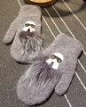 Gris oscuro Pelo Corto Pelo de Conejo Doble-deck Incluso Dedo Guante Mujer DIY mitones guantes de invierno guantes de piel mujer