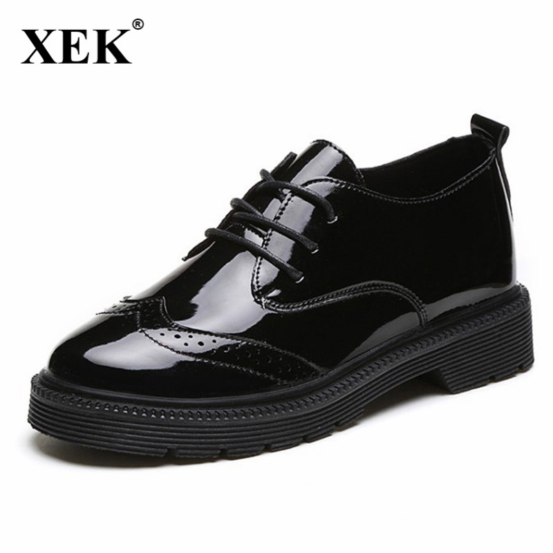 Black Flats British Style Oxford Shoes Women Spring Soft Leather Oxfords Flat Heel Casual Shoes Lace Up Womens Shoes Retro JDD56 brand new spring men fashion lace up leather retro brogue shoes casual flat breathable carved shoes bullock oxfords shoes wb 55