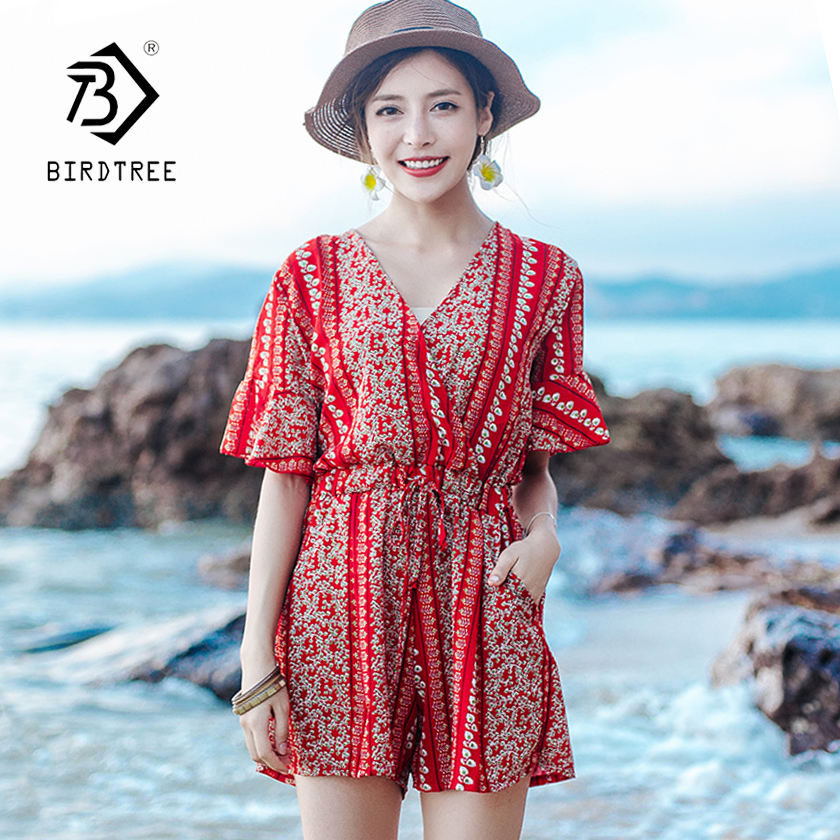 Womens Fashion Bohemian High Waist Lace Up V-Neck Loose Playsuit 2018 New Arrival Wide Leg Beach Jumpsuit Plus Size Hot S86102F