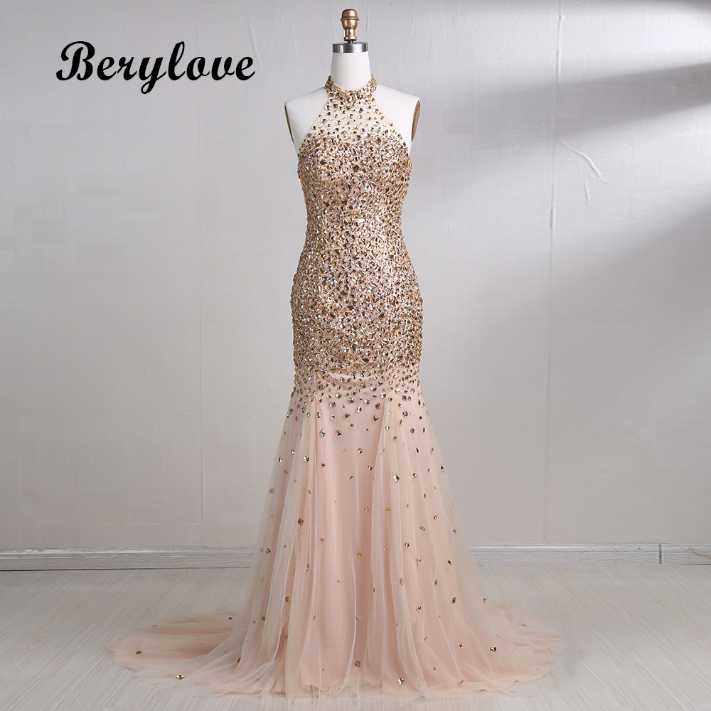 BeryLove Mermaid Champagne Evening Dresses 2018 Beaded Halter ...