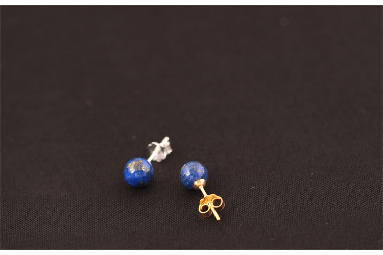 925 Sterling Silver Lapis Lazuli Pärlor Stud Örhängen För Kvinnor - Märkessmycken - Foto 4