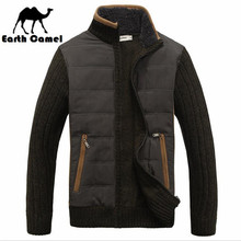 Earth Camel New Design Men's Thickness Stand Collar Sweater,High Quality Men Original Brand Casual Patchwork Knitted Thick Coat