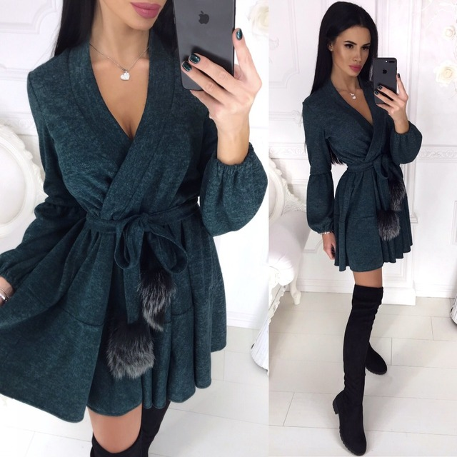 New Spring Winter Women Colors Cotton Sashes Hairball V-neck Fit and Flare Casue Warm Long Sleeve Dress Sexy elegant Vestidos 1