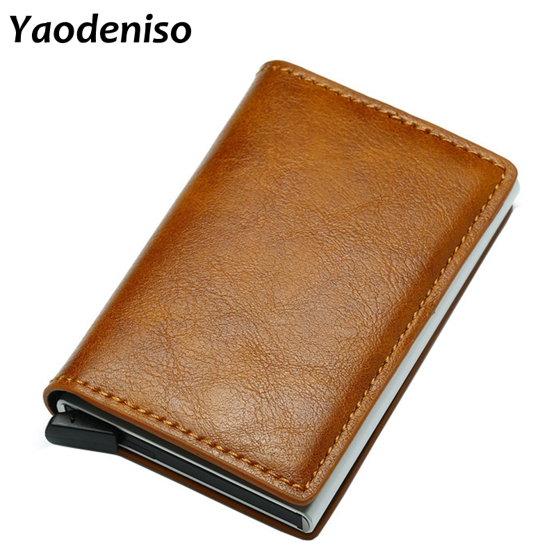 2019 Anti-theft Men Vintage Credit Card Holder Blocking Rfid Wallet Leather Unisex Security Information Aluminum Metal Purse2019 Anti-theft Men Vintage Credit Card Holder Blocking Rfid Wallet Leather Unisex Security Information Aluminum Metal Purse