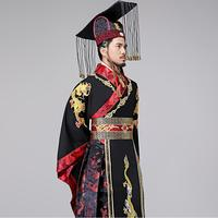 Traditional ancient Chinese Hanfu men TV Play Male Emperor Costume Dragon embroidery gown vestido the Qin Dynasty Imperial dress