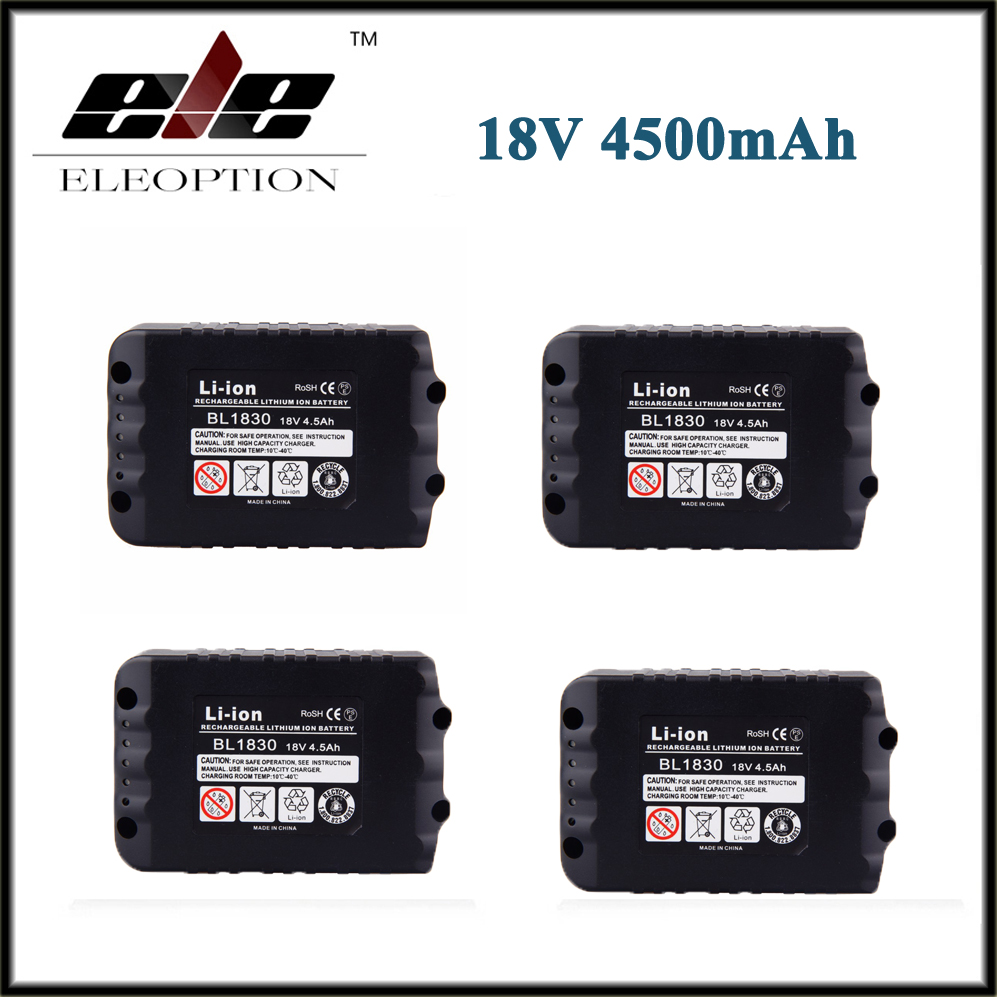 4x 4500mAh New Rechargeable Li-ion Replacement Power Tool Battery for Makita 18V BL1830 BL1840 LXT400 BL1815 194230-4 high quality brand new 3000mah 18 volt li ion power tool battery for makita bl1830 bl1815 194230 4 lxt400 charger