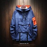 2018 Autumn Large Pocket Half Zip Men's Jacket Multi Pocket Solid Color Men's Thin Jacket, Men's Sports Trench Coat M 5XL CBUCYI