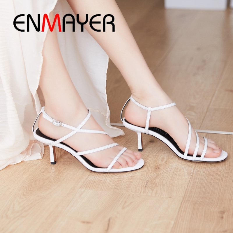 ENMAYER 2019 New Arrival Women Summer Fashion High Heel Sandals Genuine Leather Basic Party Sexy Women Shoes Size 34 40 LY2373 in High Heels from Shoes