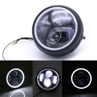 35W 12V Motorcycle Led Headlight Projector Daymaker LED Angel Eyes High Low Beam DRL Headlamp for Harley Iron 883 X48 1200 750